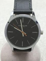 COACH/クォーツ腕時計/アナログ/レザー/GRY