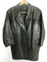 レザージャケット・ブルゾン/L/牛革/ブラック/無地/Leather Double Jacket