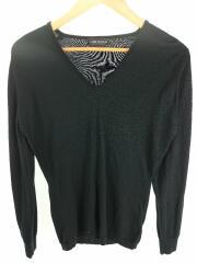 V Neck Sweater/セーター(薄手)/M/ウール/ブラック/無地/Vネック/イギリス製