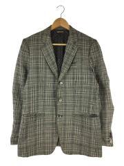 s/l glencheck single jacket/テーラードジャケット/M/リネン/グレー/チェック