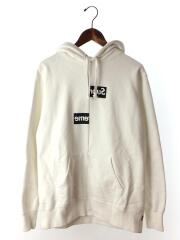 18AW/Split Box Logo Hooded Sweat Shirt/M/コットン/WHT/プルオーバーパーカー ×GOMME des GARCONS SHIRT