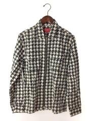 Houndstooth Flannel Zip Up Shirt/長袖シャツ/S/コットン/ホワイト/タグ付