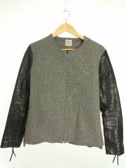 2013AW/Melton Leather Long Tee/2/M/ウール/レザー/切り替え