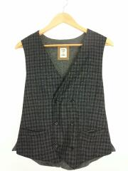E.THOMAS/Double Breasted Vest-Cashmere Blend/L/ウール/グレー/チェック