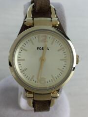 ES3264/GEORGIA/クォーツ腕時計/アナログ/レザー/ブラウン/ゴールド/茶/金/中古