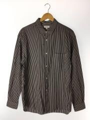 1211-218-7294/ストライプワイドフォルムシャツ/長袖シャツ/XL/ホワイト/ブラック/ストライプ