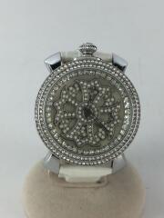 クォーツ腕時計/アナログ/レザー/SLV/WHT/BA-2312
