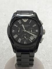 腕時計/AR-1400/CERAMICA/クロノグラフ/アナログ/ステンレス/BLK
