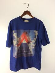 Tシャツ/M/コットン/ブルー/青色/Tee/プリント/ストリート/TRI-TERNITY/