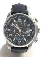 ソーラー腕時計/アナログ/ブラック/黒/ATTESA