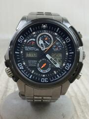ソーラー腕時計/デジアナ/BLK/SLV/シルバー/アテッサ/ジェットセッター