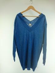 セーター(薄手)/FREE/コットン/BLU/ブルー/青/ニット/OVER V NECK KNIT