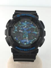 クォーツ腕時計・G-SHOCK/デジアナ/ナイロン/ブラック/黒/GA-100CB
