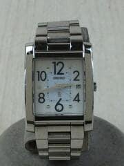 クォーツ腕時計/アナログ/WHT/SLV/シルバー/四角