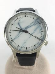 エステル ロイヤル ホワイト マーブル/クォーツ腕時計/アナログ/レザー/WHT/BLK/ベルトブラック