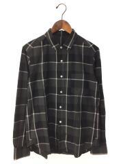 URU/ウル/長袖チェックシャツ/2/コットン/BLK/ブラック×グレー×ホワイト/スタンダードカラー