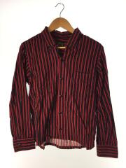 B.D.ストライプオープンカラーシャツ/XS/コットン/RED/ストライプ
