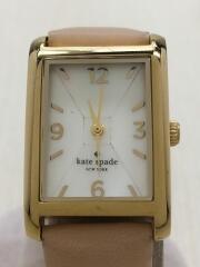 クォーツ腕時計/アナログ/レザー/WHT/CRM/0387/IN A NEW WORK MINUTE/3針/