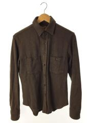 厚手コットン長袖シャツ/S/BRW/両胸ベース型ポケット付き/アウトドア/