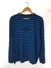 長袖Tシャツ/XL/コットン/BLU/ストライプ/huf worldwide刺繍/ロンT/ボーダー/