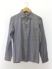 長袖シャツ/M/コットン×シルク混/BLU/ストライプ/ワイドカラー/フロントボタン/左胸ポケット/