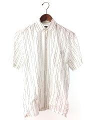 半袖シャツ/M/コットン/WHT/ストライプ/ホワイト/BBW37-637-01