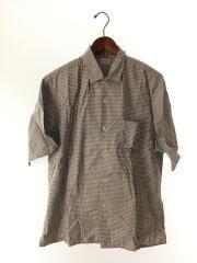 オープンカラー/半袖シャツ/XL/コットン/BLU/チェック/8116-218-0248/ブルー×グレー/