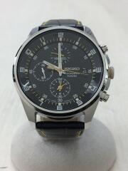 クォーツ腕時計/アナログ/レザー/WHT/BLK/7T92-0mf0/クロノグラフ