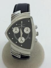 VENTURA/クォーツ腕時計/アナログ/レザー/BLK/BLK/ブラック/H244121/ベンチュラ