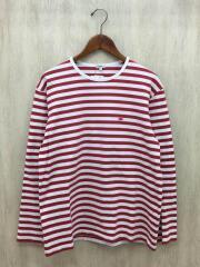 サイ長袖Tシャツ/40/コットン/RED/ボーダー1118-21494
