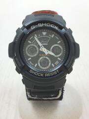 クォーツ腕時計/デジタル/ナイロン/ブラック/AW-591MS