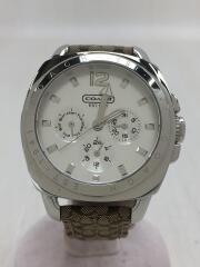 コーチベルトシグネチャークォーツ腕時計/アナログ/キャンバスWHT/BRW/CA.43.3.14.0444