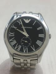 傷汚れ有/クォーツ腕時計/アナログ/ステンレス/BLK/シルバー/AR-1706