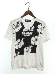 Tシャツ/M/コットン/WHT/花柄/クルーネック