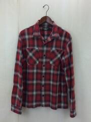 シャドーチェック/オープンカラーシャツ/シャツ/M/コットン/RED/チェック/アメカジ