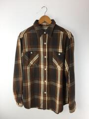 19AW/FLANNEL CHACK REGULAR COLLAR SHIRTネルシャツ/L/コットン/BRW/チェック