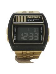 クォーツ腕時計/デジタル/ステンレス/BLK/GLD/DZ-7195/電池切れ