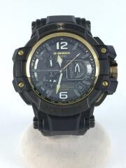 CASIO/GPW-1000/クォーツ腕時計/アナログ/ステンレス/BLK/BLK