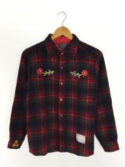ネルシャツ/L/ウール/RED/チェック/70s/リメイク/復刻/花刺繍