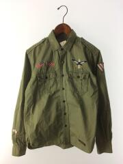 13SS/OFFICER/C-SHIRT/ミリタリーシャツ/長袖シャツ/S/コットン/GRN