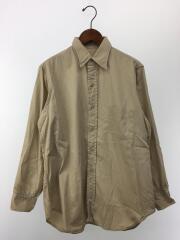 長袖シャツ/15.5/コットン/BEG/無地/40s頃/アメリカ軍/オフィサーシャツ