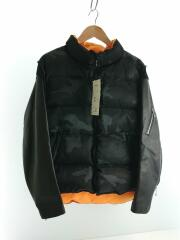 20AW/Leather sleeve down jacket/2/ナイロン/BLK/カモフラ