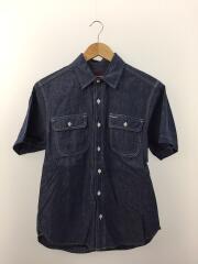シャンブレー/半袖シャツ/S/コットン/BLU