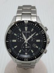 ソーラー腕時計/アナログ/ステンレス/BLK/SLV/H500-S064538
