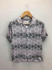 半袖シャツ/M/レーヨン/GRY/総柄/オープンカラーシャツ