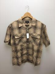 開襟シャツ/オープンカラー/半袖シャツ/M/コットン/BEG/チェック/