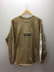 テープロゴロンT/長袖Tシャツ/S/コットン/BEG/ボックスロゴ