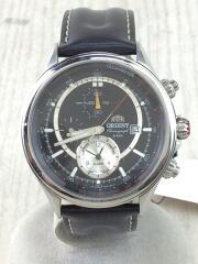 クォーツ腕時計/アナログ/レザー/NVY/BLK/TD0T-C3/裏フタヨゴレ有/キズアリ