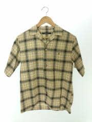 2ポケット チェック シャツ/オープンカラー/半袖シャツ/S/コットン/YLW/チェック/ユナイテッドアロース