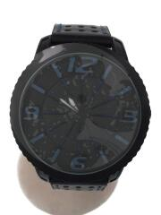 ROUE/クォーツ腕時計/アナログ/レザー/NVY/BLK